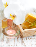 Spa set with white orchids Royalty Free Stock Images