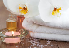 Spa set with white orchids Royalty Free Stock Image