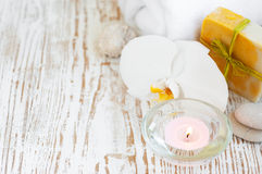 Spa set with white orchids Stock Images