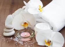 Spa set with white orchids Royalty Free Stock Photos