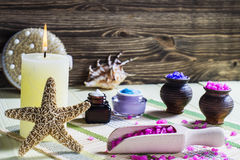 Spa set on wooden table stock photo