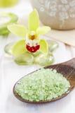 Spa set: zen stones and bowl of sea salt Stock Image