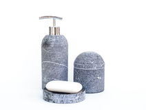 Spa Sets. Ceramics spa sets with soap and shampoo container for relaxation bathroom isolated in white background Stock Image