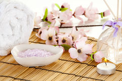 Spa setting. Spa items ready for relaxation Royalty Free Stock Image
