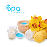 Spa setting. Spa products with yellow orchid stock image