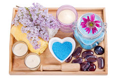 Spa setting. Natural Herbal Products.Spa cosmetics stock photo