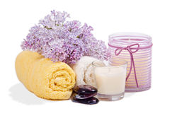 Spa setting. Natural Herbal Products.Spa cosmetics royalty free stock photography