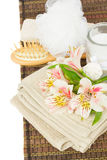 Spa setting with alstroemeria flowers Stock Images