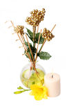 Spa setting with aroma sticks, candle, and flower. Isolated on white Royalty Free Stock Photos