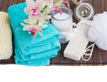 Spa setting with  bath accessories Stock Photos