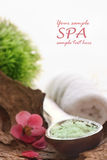 Spa setting with bath salt Royalty Free Stock Images