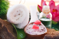 Spa setting with bath salt Stock Photos