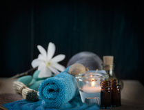 Spa setting with bath salt Royalty Free Stock Photography