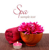 Spa setting with beautiful pink flower Royalty Free Stock Photo