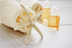Spa setting with beauty products Stock Image
