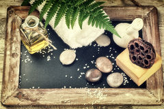 Spa setting with beauty treatment accessories. Wellness concept Stock Images