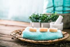 Spa setting in blue Stock Photos