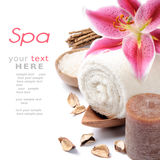 Spa setting in brown tone. Over white background Royalty Free Stock Photos