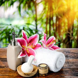 Spa setting in brown tone Royalty Free Stock Photography