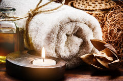 Spa setting in brown tone Stock Photos