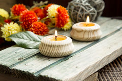 Spa Setting with Burning Candles Stock Photography