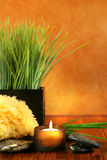 Spa setting with candle. Sponge and herb grass Royalty Free Stock Photography