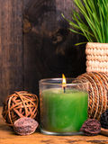 Spa setting with candle Royalty Free Stock Images