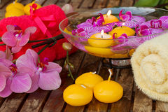 Spa setting with candles Royalty Free Stock Photos