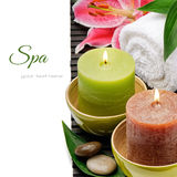 Spa setting with candles and lily Stock Image