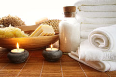 Spa setting with candles Royalty Free Stock Photo