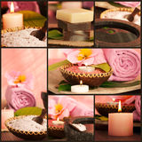 Spa setting collage. Collage of pink spa setting Stock Photos