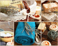 Spa Setting Collage Made of Four Spa Photography Settings and Pr. Natural Spa and Wellness Collage Made of Four Spa Photography Sittings and Body-Care Products Royalty Free Stock Photo
