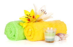 Spa setting with colorful lily flowers Royalty Free Stock Photography