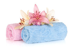 Spa setting with colorful lily flowers Stock Photo