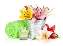 Spa setting with colorful lily flowers Royalty Free Stock Image
