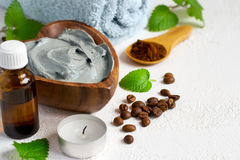 Spa setting with cosmetic blue clay mask for body, Towel Stock Photography