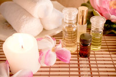 Spa Setting with Essence Oil. Stock Photo
