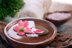 Spa setting with floral water Royalty Free Stock Images