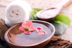 Spa setting with floral water Royalty Free Stock Photo