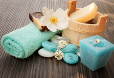 Spa setting with flower Royalty Free Stock Image