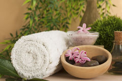 Spa setting with flower stock images