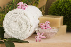 Spa setting with flower royalty free stock photography