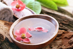 Spa setting with flower stock image