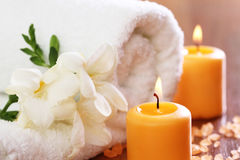 Spa setting with freesia Royalty Free Stock Images