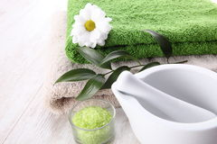 Spa setting with green accents Royalty Free Stock Photo