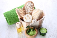 Spa setting with green accents Stock Photography