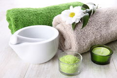 Spa setting with green accents Stock Photo