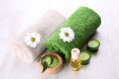 Spa setting with green accents Stock Photos