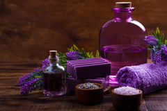 Spa setting and health care items Royalty Free Stock Photos