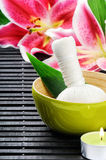 Spa setting with pink lily Stock Images